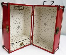 Vintage Red METAL Doll Trunk CARRYING Case WARDROBE Locker STEAMER 1950's