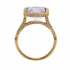 14K ROSE WHITE YELLOW GOLD PAVE DIAMOND PINK AMETHYST COCKTAIL ENGAGEMENT RING