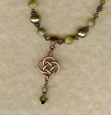 Irish Connemara Marble & Copper Celtic Knot Necklace with Swarovski Crystals