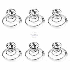 Bridal Wedding Silver Clear Crystal Hair Coils Swirls Spirals Twists Pins HP17