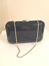 NEW ACCESSORIZE Two Tone Dark Navy Black Patent Hardcase Box Clutch Bag Purse