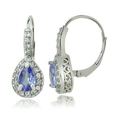 Sterling Silver 1.6ct Tanzanite & White Topaz Teardrop Leverback Earrings