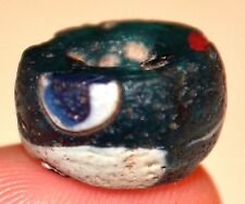 Ancient Islamic Blue & White Glass Eye Bead Found In Mali, Africa
