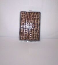 Eclipse Brown Croc Framed Double Sided PU Leather 100s Cigarette Case