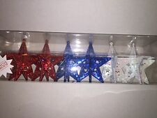 Set of 6 Christmas Holiday Patriotic Star Shatterproof Ornaments Red White Blue