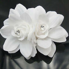 Women White Chiffon Lily Rhinestone Hair Clips Chic Headdress Flower For Wedding
