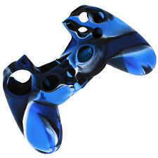 ETUI COQUE SILICONE POUR MANETTE SONY PS4 DUALSHOCK 4 CAMOUFLAGE BLEU
