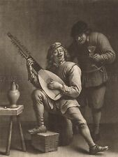 VAILLANT TENIERS FLEMISH LUTE PLAYER DRINKER OLD ART PAINTING POSTER BB6469A