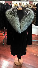 Fur mink sheared pieces coat with hood and belt
