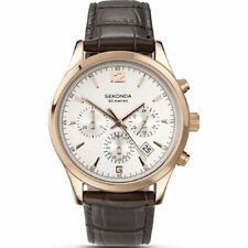Sekonda Chronograph Silver Dial Brown Leather Strap Mens Watch 3488