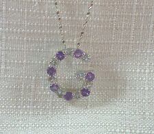 """1.60ct Genuine Amethyst & Topaz Solid 925 Sterling Silver """"G"""" Pendant & Chain"""