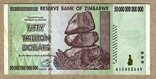 Zimbabwe 50 Trillion Dollars banknote AA 2008 P90 VF currency bill