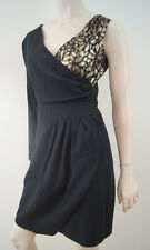 PROJECT D DANNI & TABITHA Black Gold Floral Wool & Silk One Shoulder Dress UK10