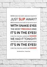 Mumford & Sons - Snake Eyes - Song Lyric Art Poster - A4 Size