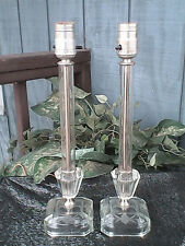 """ETCHED CRYSTAL GLASS CANDLESTICK BEDROOM TABLE LAMPS 2 - 15"""" GREAT VINTAGE COND!"""
