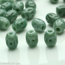 30PCS Chinese Natural Jade (Jadeite) Carved Oval Beads / Size:12mm (Wholesale)