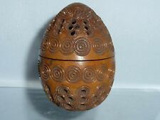 Antique  carved Coquilla Nut Egg Etui Thimble Case Sewing Flea trap Pomander