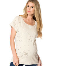 NWT $68 Design History Pea in the Pod Maternity Ivory SS Beaded Sweatshirt Top M
