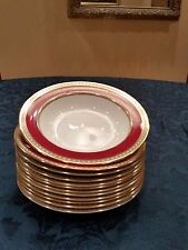 "WEDGWOOD ULANDER POWDER RUBY #W1813  8"" RIMMED SOUP BOWLS (SET OF 4) -PERFECT"