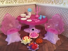 Barbie Swan Princess Doll Fairy Table Chair Candles Food Dishes Cake Stump