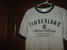 timberland t-shirt S/S gray AUTHENTIC & DURABLE w/ navy blue ringer size XL NEW