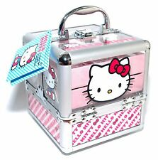 Hello Kitty Train Case Complete Cosmetic Makeup Nail Kit For All Princesses New