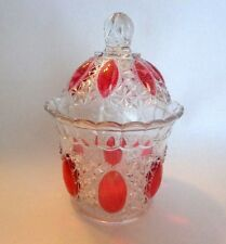 VINTAGE PRESSED CLEAR GLASS DECANTER WITH LID AND PINK DROPS THROUGHOUT - NICE