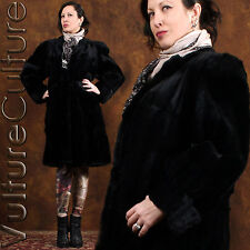Vintage 40s 50s PinUp Goth Fur Coat Blk Seal-Dyed Coney Strong Shoulder Long L
