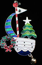 ISLAND CHRISTMAS SAILING CRUISING SAILBOAT BOAT SHIP CHRISTMAS TREE PIN BROOCH