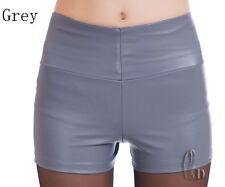 AU SELLER High Waist PU Faux Leather Punk Rockabil Shorts pants  SZ 6-14 P132