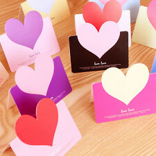 New Lovely 3pcs Heart-shaped Birthday Christmas Greeting Message Card Envelope