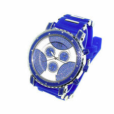 MENS ICED OUT ICE NATION/PAVE MASTER BLUE/SILVER HIP HOP WATCH WITH BULLET BAND