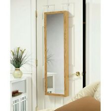 Jewelry Mirror Armoire Door Hanging Wall Mounted Oak Storage Organizer Cabinet