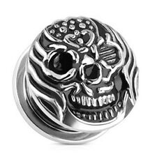 PAIR-Skull Flaming Casted Steel Screw On Plugs 10mm/00 Gauge Body Jewelry