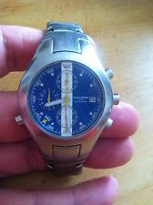 Vintage Renault Sport Chronograph Watch - Blue Dial . With Date And Stopwatch