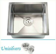 "17"" 15mm (1/2"") Radius Square Corner Stainless Steel Kitchen / Island Bar Sink"