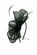Ladies Women Sinamay Flower Feather Wedding Occasion Headband Hat Fascinator UK