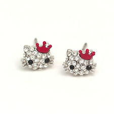 New Hello kitty Titanium silver tone crystal stud Earrings with Red Crown