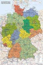MAP OF GERMANY EDUATIONAL POSTER Bundesrepublik Deutschland NEW Licensed Art