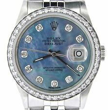 Rolex Datejust Mens Stainless Steel Jubilee w/ Blue MOP Diamond Dial & 1ct Bezel