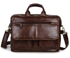 J.M.D Durable Genuine Cow Leather Men's Briefcase Laptop Handbag Messenger Bag