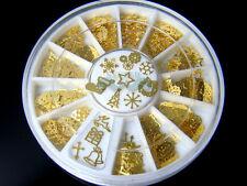 12 Patterns Design Christmas Nail Art Decoration Gold Metal Slices S136
