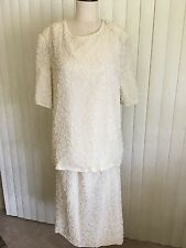 "Vintage ""Lawrence Kazar"" off White Silk & Beaded Faux Pearl 2 pc. Skirt & Top-2X"