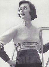 Vintage Knitting PATTERN to make Mock Turtle Neck Pullover Sweater MockTurtle