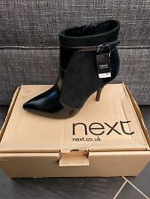 NEXT LADIES BLACK LEATHER SUEDE ANKLE BOOTS SIZE 7 EUR 41 BRAND NEW £65