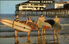 Old Orchard Beach ME Surfing Vintage Surfboards 1950s-60s postcard