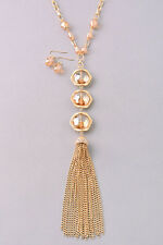 Gold and Pink Crystal and Acrylic Tassel FASHION Necklace Set