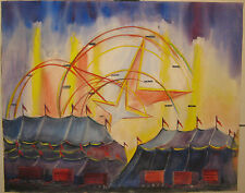 Vintage ELLEN H DAVIDSON 'Circus Tents Carnival FERRIS WHEELS' Painting - LISTED