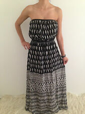 Women's Strapless Boho Gypsy Summer Beach Casual Maxi Evening Dress Size 12-14