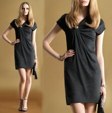 $1,495 GUCCI DRESS ASYMMETRICAL WITH CRYSTAL BROOCH GRAY JERSEY sz Large /L